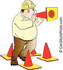 Vector of engineer blowing construction cone.