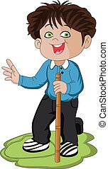 Vector of excited boy holding stick.