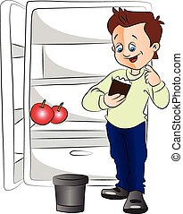 Vector of excited man with ice cream cup next to a fridge.
