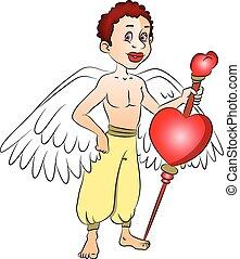 Vector of fairy boy with a heart shape symbol on bow.