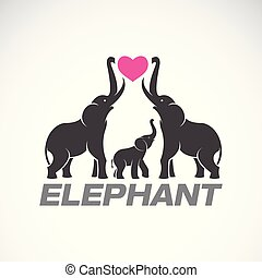 Vector of family elephants and pink heart on white...