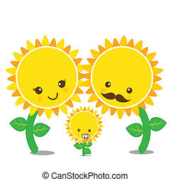 Vector of family smile sunflower