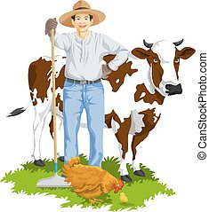 Vector of farmer with hen and cow.