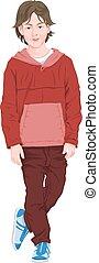 Vector of fashionable boy