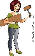 Vector of female construction worker.
