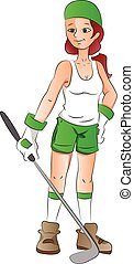 Vector of female golfer.