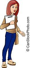 Vector of female student carrying a book and bag.