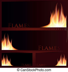 Vector of fire frames on black background