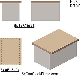 Vector of flat roof. Elevations, roof plan and 3d view
