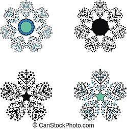 Vector of four different snowflakes set. Winter christmas concept. New Year theme