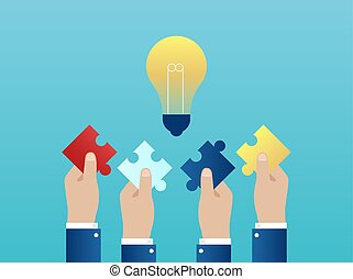 Vector of four hands together reaching out with puzzle pieces having a successful idea