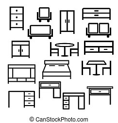 vector of furniture icon set isolated on white background