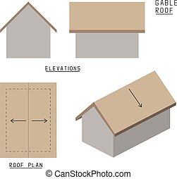 Vector of Gable roof. Elevations, roof plans and 3d view