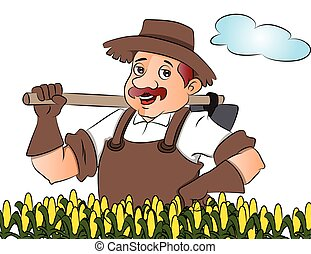 Vector of gardener with a shovel.
