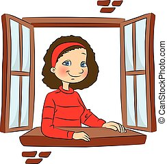 Vector of girl at window.