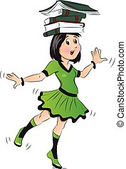 Vector of girl balancing books on her head.