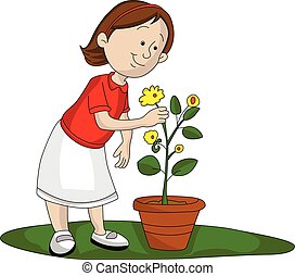 Vector of girl picking up flower.
