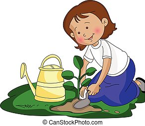 Vector illustration of girl planting a small plant at garden.