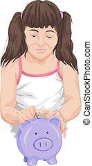 Vector of girl saving money in piggy bank.