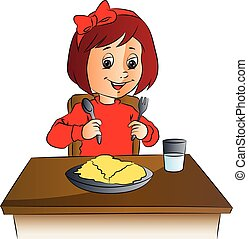 Vector of girl with food on table.