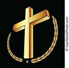 Vector of gold cross with laurel