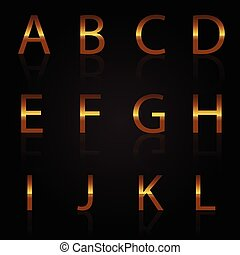 Vector of gold letters