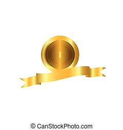 Vector of golden medal or coin. Gold medal with empty label isolated on a white background.