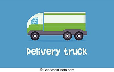 Vector of green delivery truck
