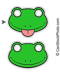 Vector of green frog masks sticking out tongue