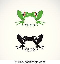 Vector of green frogs and black frog on white background....