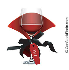 Vector of Halloween Wine Glass - Vampire Red Wine Glass....