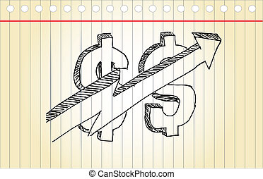 Hand draw sketch, Business grow