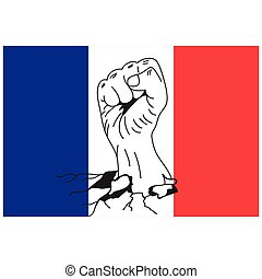 Vector of hands clenched into fists with french flag background. Demonstration action concept for France