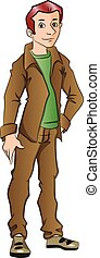 Vector of handsome young man with hand on hip.