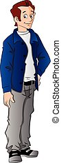 Vector of handsome young man with hand on hip. - Vector...