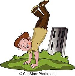 Vector of happy boy doing handstand.
