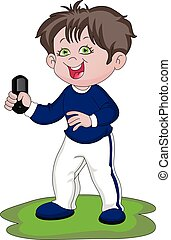 Vector of happy boy holding remote control.