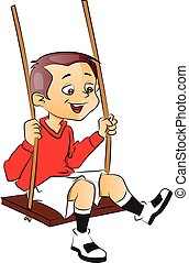 Vector of happy boy on swing.