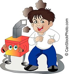 Vector of happy boy with chimney mascot.