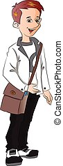 Vector illustration of happy college student carrying bag.