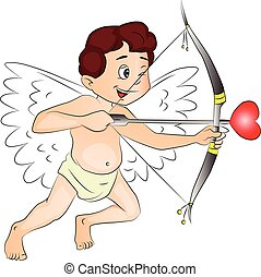 Vector of happy cupid with bow and arrow.