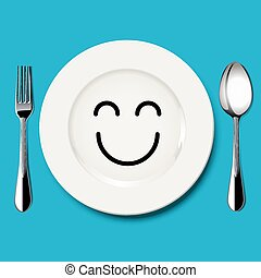 Vector of happy face draw on white plate with spoon and fork on blue background