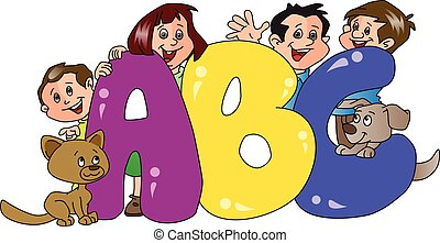 Vector illustration of happy family and pet dogs with abc blocks in foreground.