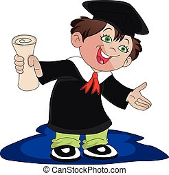 Vector of happy graduate boy holding degree certificate.