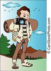 Vector illustration of happy young man taking pictures using digital camera.