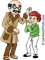 Vector of happy old man blessing a boy.
