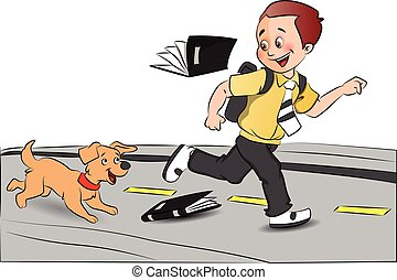 Vector of happy schoolboy running with pet dog, books falling.