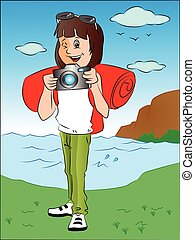 Vector of happy teenage girl with camera in front of river.