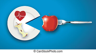 Vector of Healthy Heart food concept, 2 Red Apples on white plate eating with fork on blue background