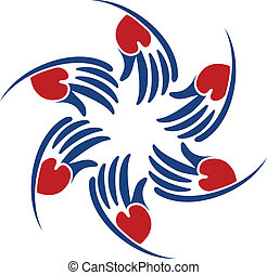 Vector of helping heart hands logo - Vector of helping heart...